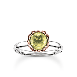 "anello solitario ""fiore di loto verde"" from the Glam & Soul collection in the THOMAS SABO online store"