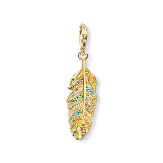 charm pendant feather gold from the Charm Club collection in the THOMAS SABO online store