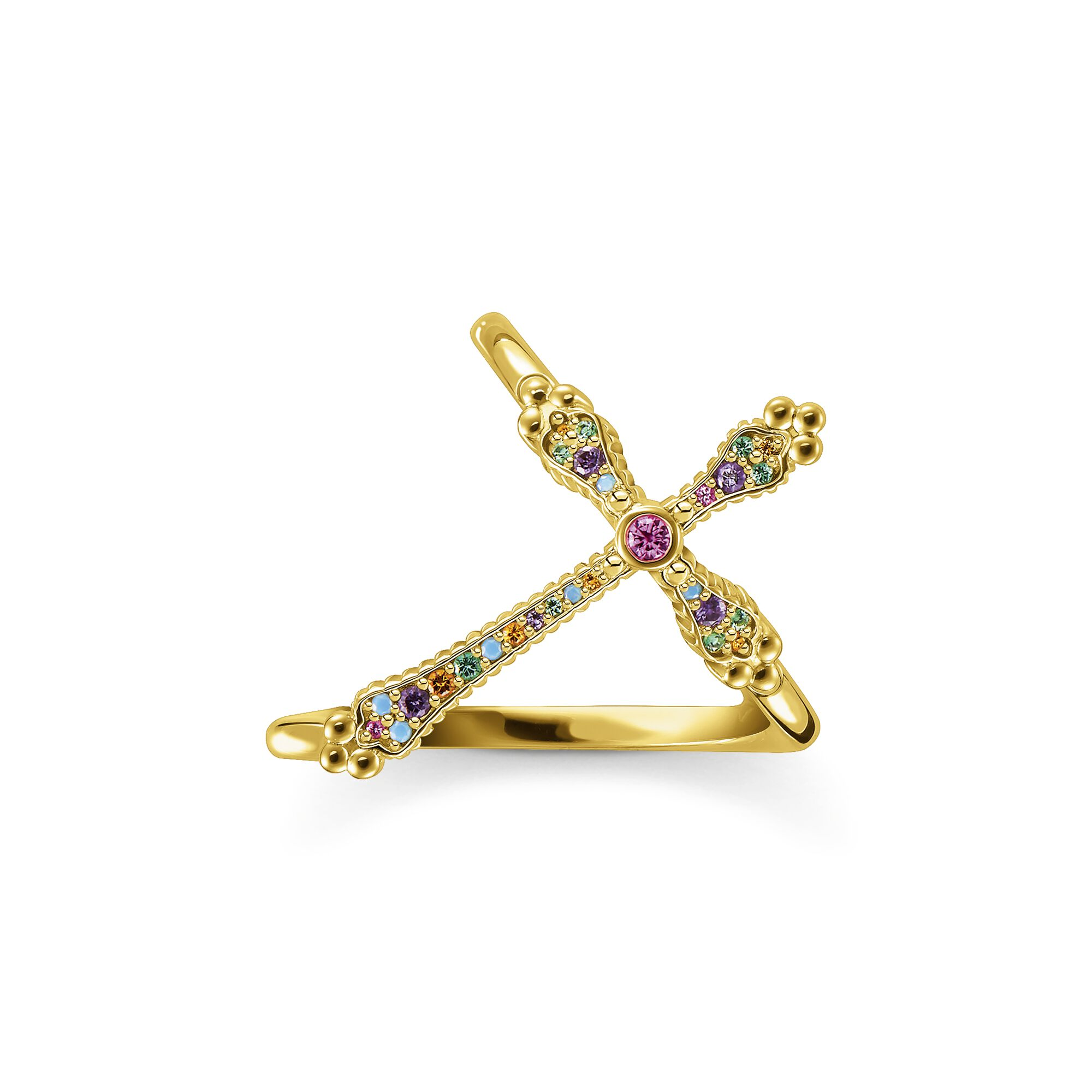 Ring Royalty cross gold colourful stones