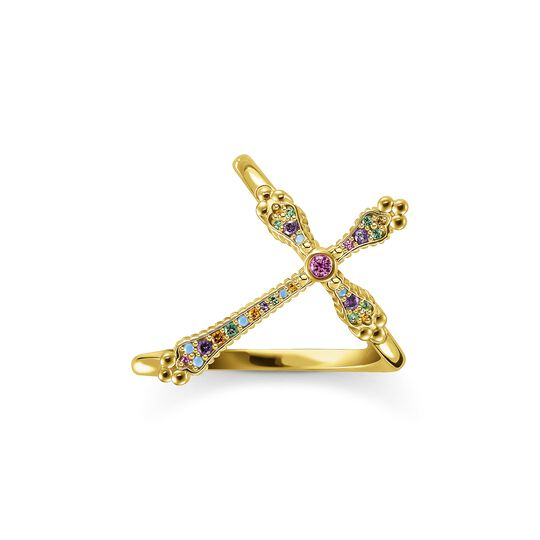 Ring Royalty cross gold colourful stones from the  collection in the THOMAS SABO online store