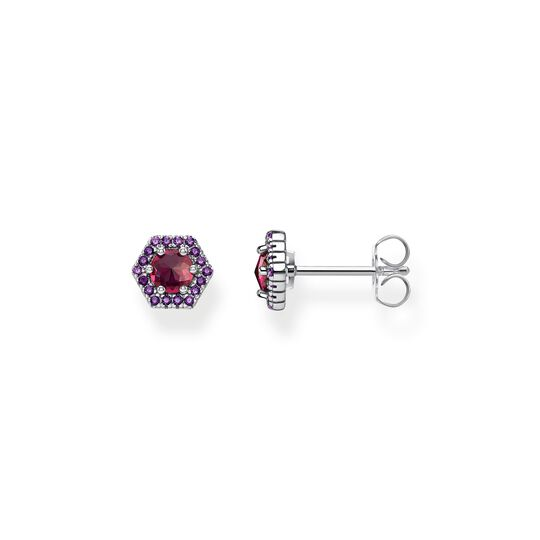 ear studs Hexagon, red from the  collection in the THOMAS SABO online store