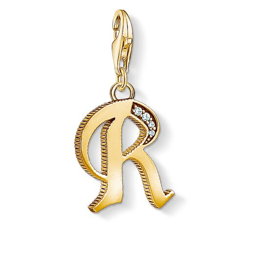Charm pendant letter R gold from the Charm Club collection in the THOMAS SABO online store