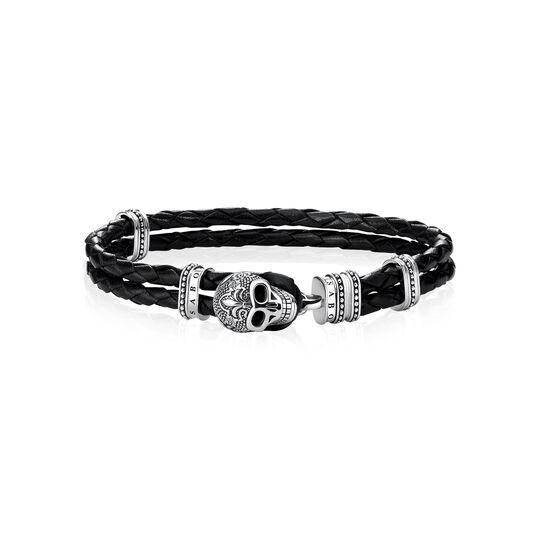 """brazalete de cuero """"calavera con flor de lis"""" de la colección Rebel at heart en la tienda online de THOMAS SABO"""