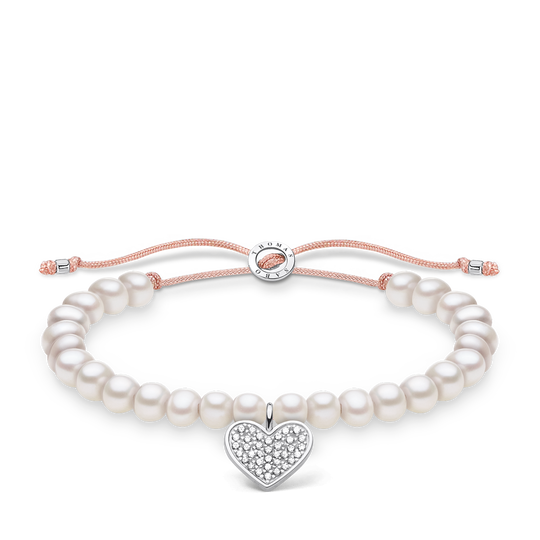 Bracelet white pearls heart pavé from the Charming Collection collection in the THOMAS SABO online store