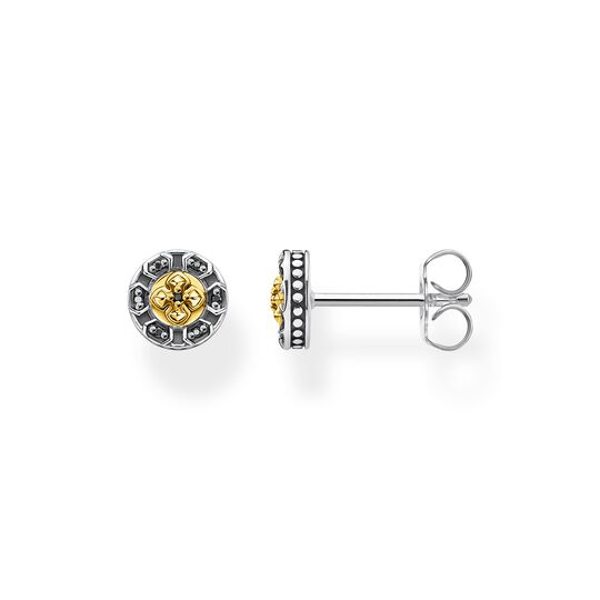 Ear studs cross black stones gold from the Rebel at heart collection in the THOMAS SABO online store