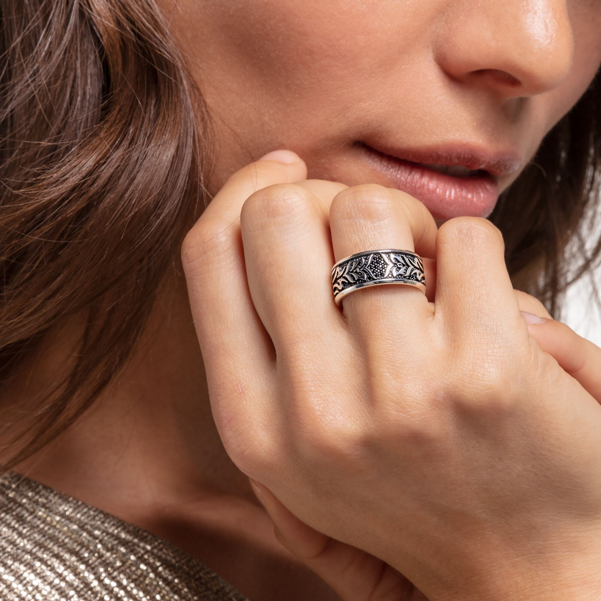 TR030 Adjustable Geometry Brass Rings 2pcs Raw Brass Crown Ring