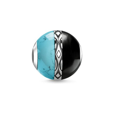"""Bead """"ornament turquoise & black"""" from the Karma Beads collection in the THOMAS SABO online store"""