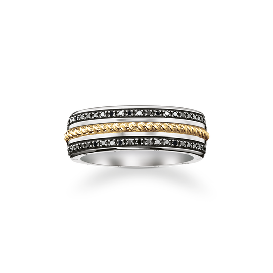 bague ruban diamants noirs de la collection Rebel at heart dans la boutique en ligne de THOMAS SABO