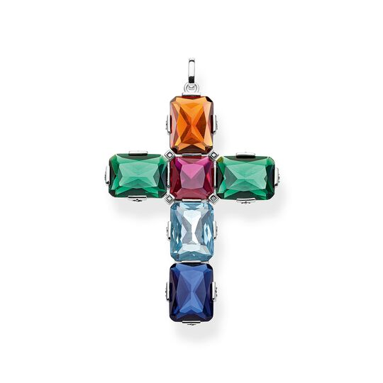 pendant Cross colourful stones, silver, large from the  collection in the THOMAS SABO online store