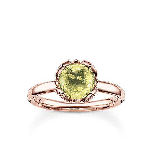 """solitaire ring """"green lotus flower"""" from the Glam & Soul collection in the THOMAS SABO online store"""