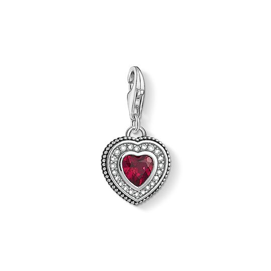 Charm pendant Heart with red stone from the Charm Club collection in the THOMAS SABO online store
