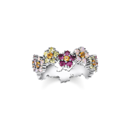 Ring flowers colourful stones silver from the Glam & Soul collection in the THOMAS SABO online store