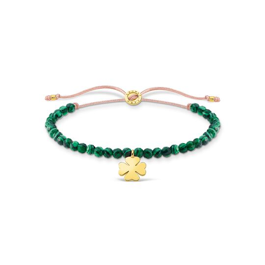 Bracelet green pearls cloverleaf gold from the Charming Collection collection in the THOMAS SABO online store