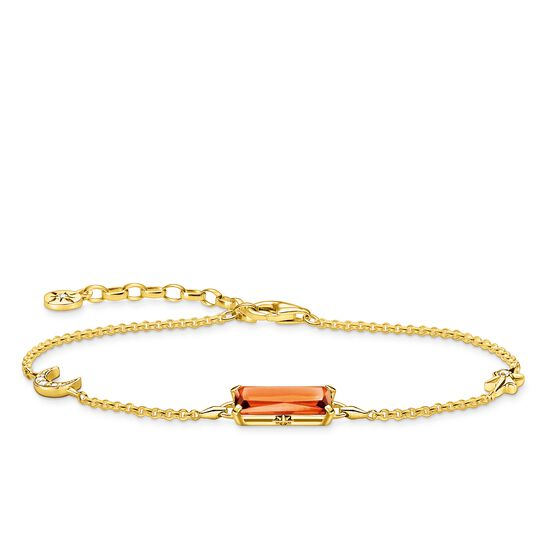 Bracelet orange stone with star & moon gold from the Glam & Soul collection in the THOMAS SABO online store