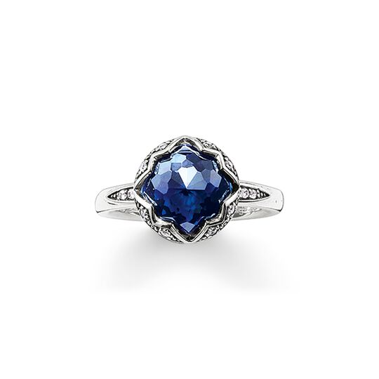 solitaire ring dark blue Lotos from the  collection in the THOMAS SABO online store