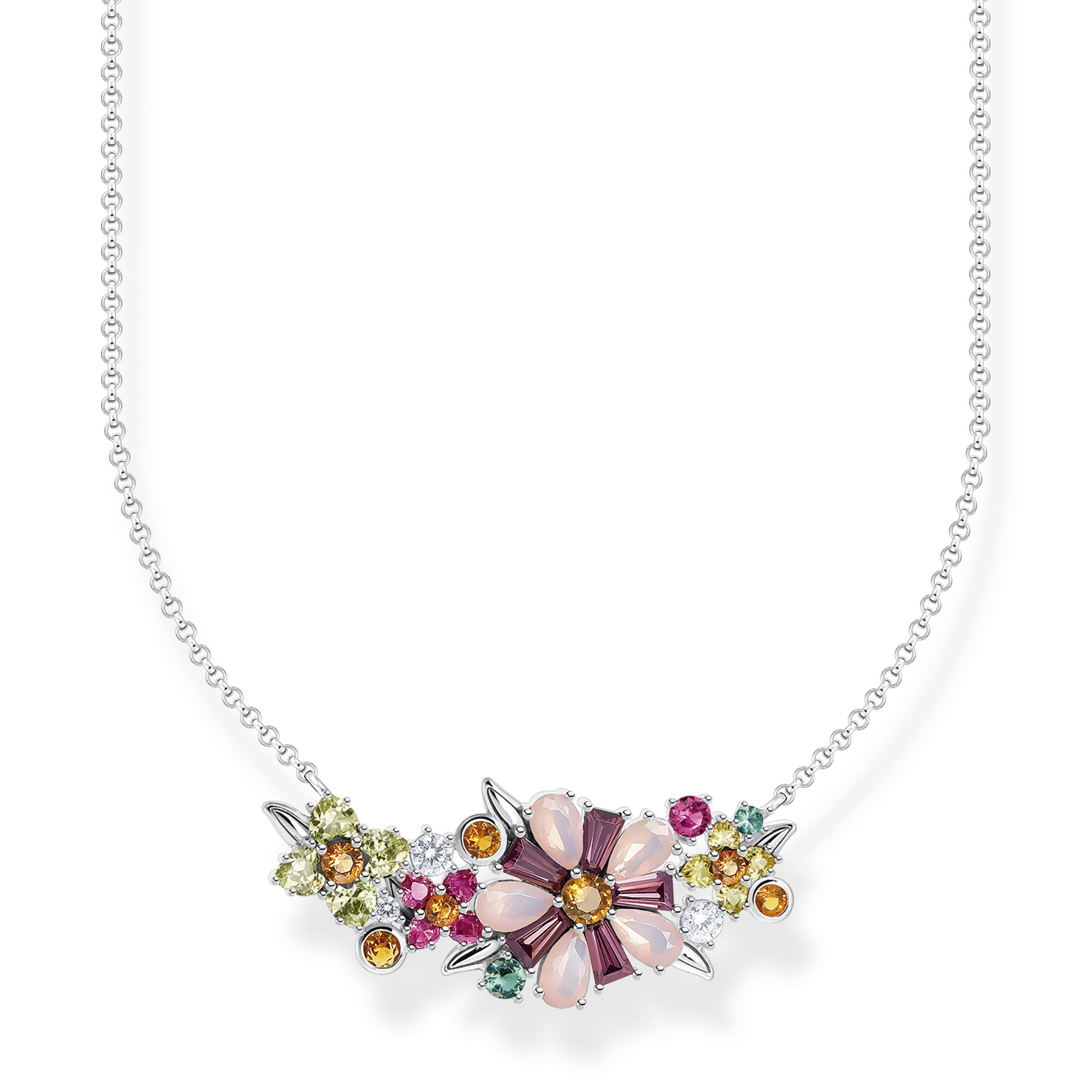 Necklace flowers colourful stones silver
