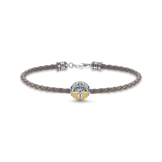 Leather bracelet grey tree of love gold from the Rebel at heart collection in the THOMAS SABO online store