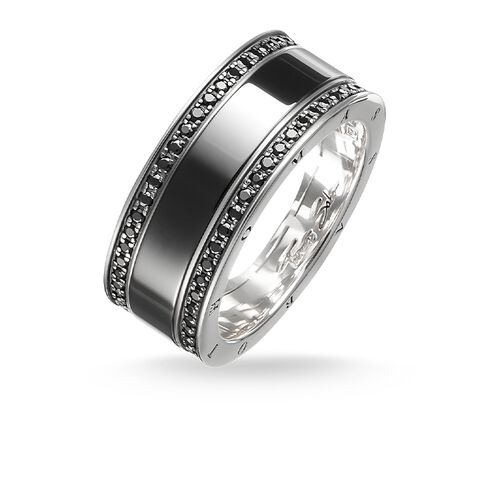 "band ring ""black ceramic pavé"" from the Glam & Soul collection in the THOMAS SABO online store"