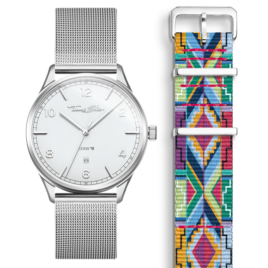 SET CODE TS white watch & coloured graphic pattern strap from the  collection in the THOMAS SABO online store