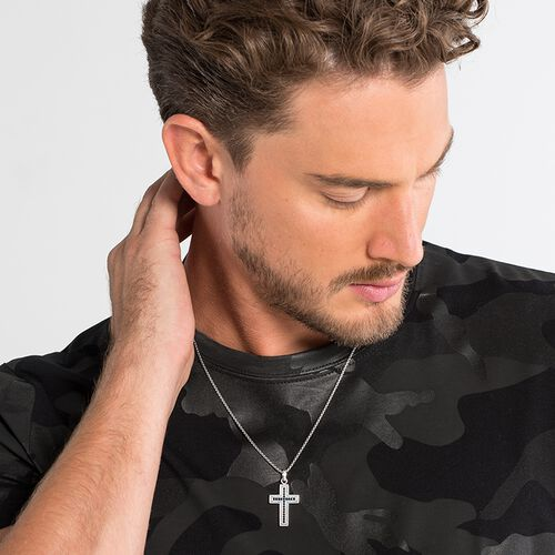 """necklace """"black cross pavé"""" from the Rebel at heart collection in the THOMAS SABO online store"""