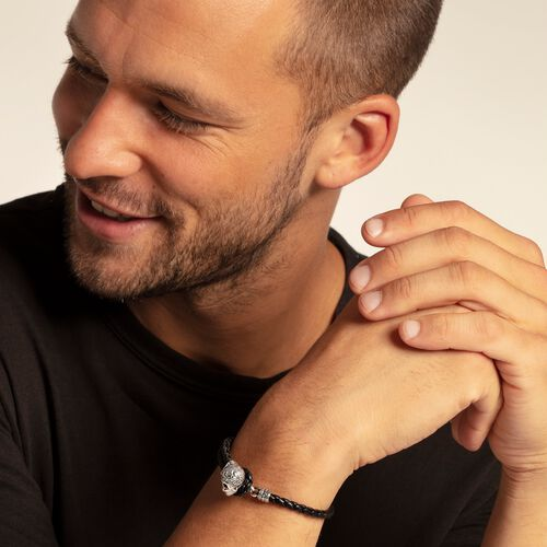 """leather strap """"skull"""" from the Rebel at heart collection in the THOMAS SABO online store"""