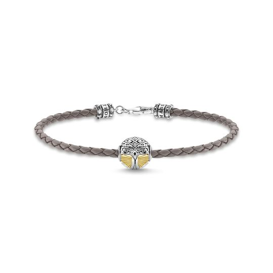 Leather bracelet grey tree of love gold from the  collection in the THOMAS SABO online store