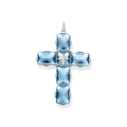 pendant cross large blue stones with star from the  collection in the THOMAS SABO online store