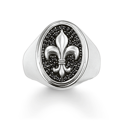 "signet ring ""fleur-de-lis"" from the Rebel at heart collection in the THOMAS SABO online store"