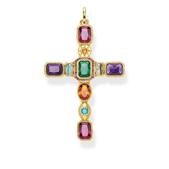 Pendant Cross colourful stones gold from the Glam & Soul collection in the THOMAS SABO online store
