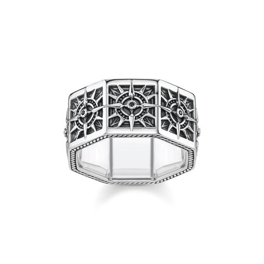 ring Compass, angular, black from the  collection in the THOMAS SABO online store