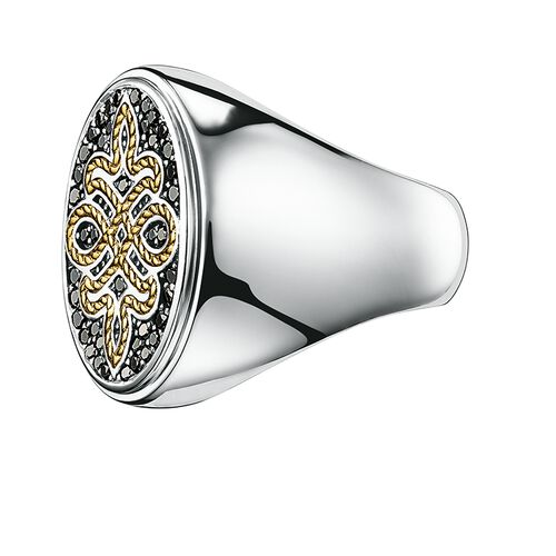 """signet ring """"diamond Love Knot"""" from the Rebel at heart collection in the THOMAS SABO online store"""