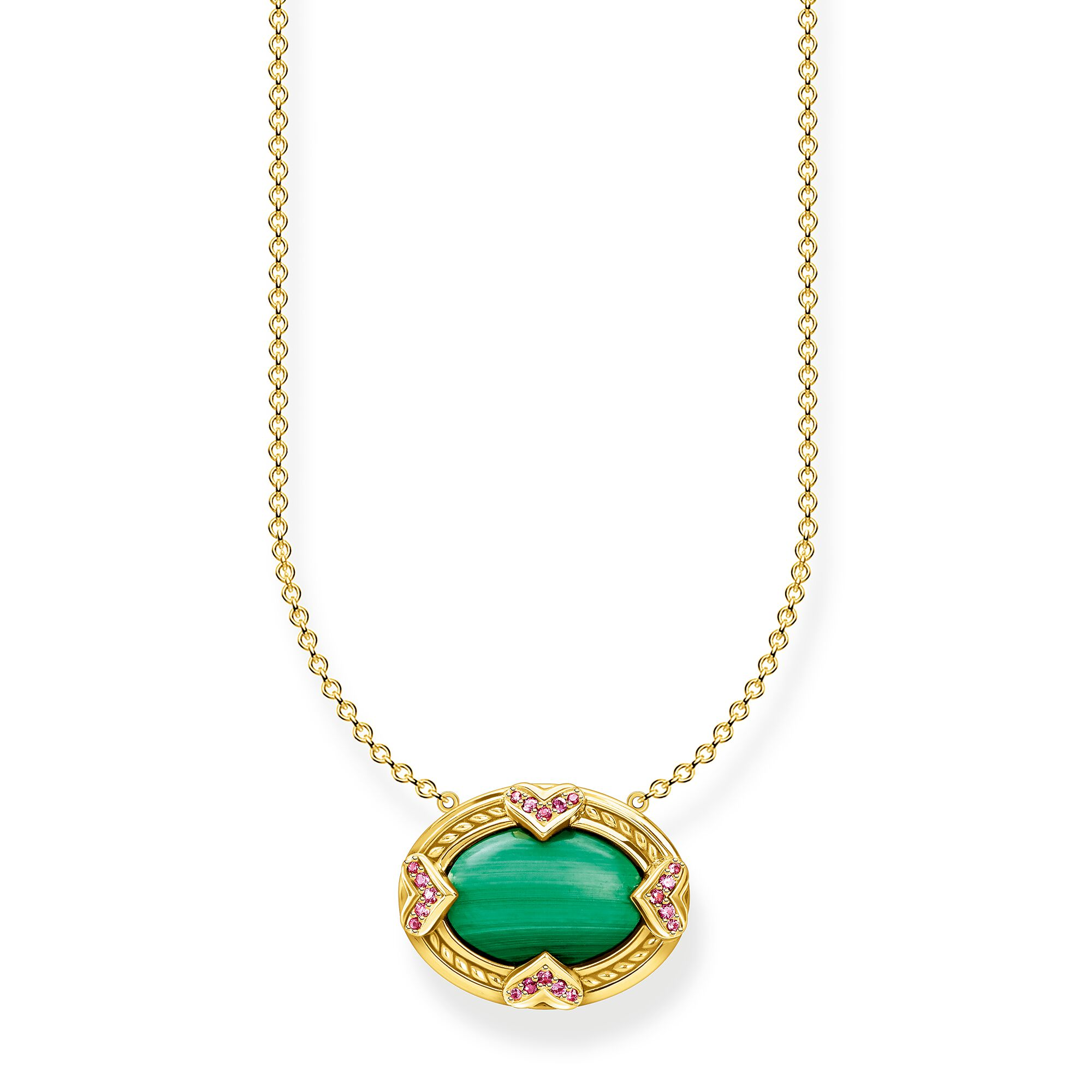 Necklace green stone gold