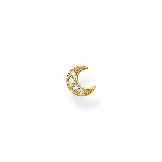 Single ear stud moon pavé gold from the Charming Collection collection in the THOMAS SABO online store