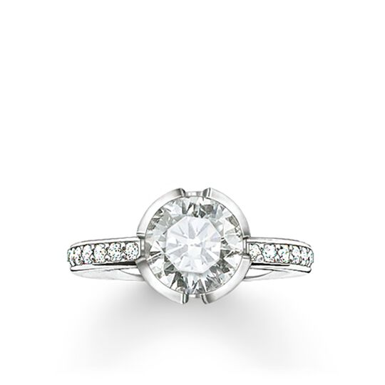 "solitaire ring ""Signature Line white pavé small"" from the Glam & Soul collection in the THOMAS SABO online store"