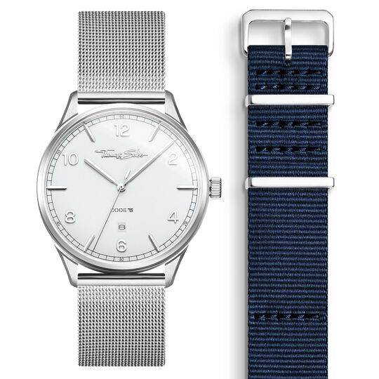 SET CODE TS Reloj blanco & correa azul marino de la colección  en la tienda online de THOMAS SABO