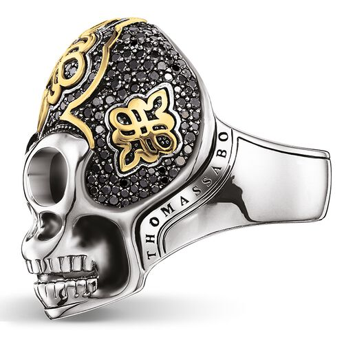 """ring """"black skull with diamond"""" from the Rebel at heart collection in the THOMAS SABO online store"""