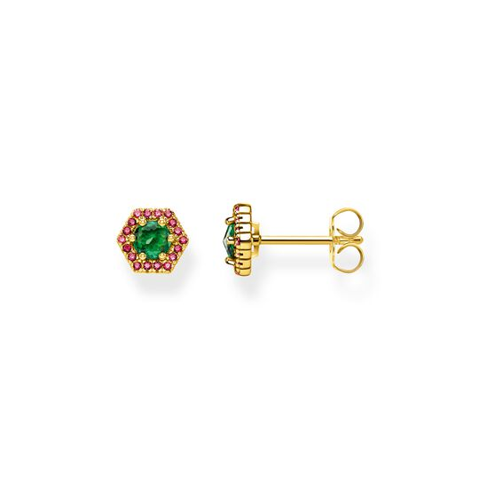 ear studs Hexagon, green from the  collection in the THOMAS SABO online store