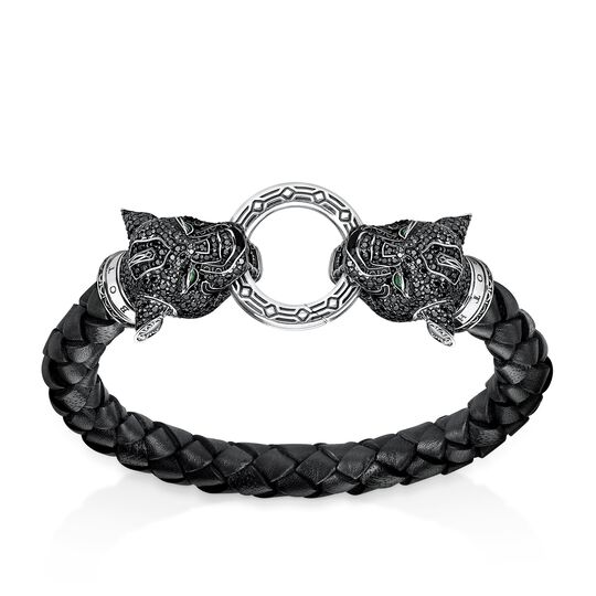 leather strap black cat from the Rebel at heart collection in the THOMAS SABO online store