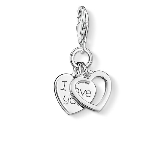 Charm pendant I LOVE YOU hearts from the  collection in the THOMAS SABO online store