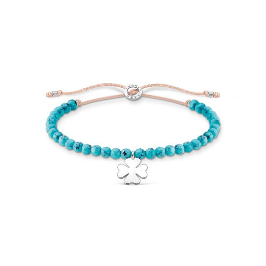 Bracelet turquoise pearls with cloverleaf from the Charming Collection collection in the THOMAS SABO online store