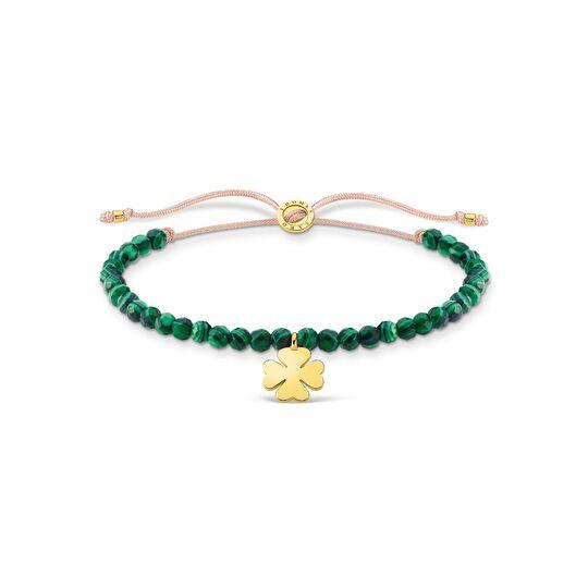 Pulsera verde perlas trébol oro de la colección Charming Collection en la tienda online de THOMAS SABO