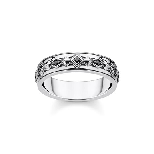 Ring black stones, silver from the Rebel at heart collection in the THOMAS SABO online store
