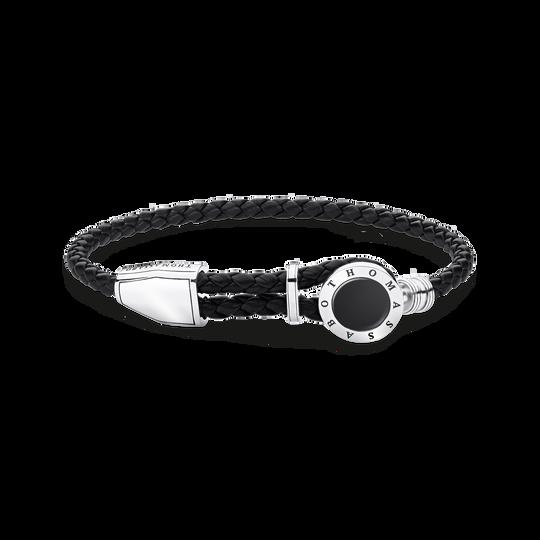bracelet cuir médaille noir de la collection Rebel at heart dans la boutique en ligne de THOMAS SABO