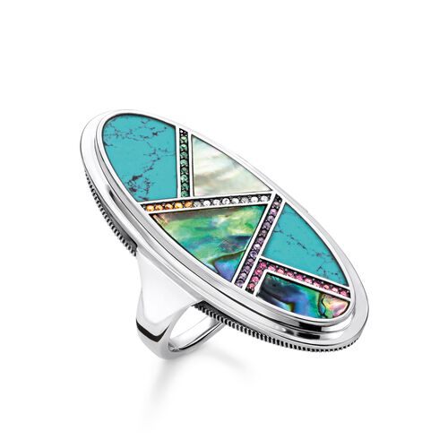 """ring """"turquoise, mother-of-pearl"""" from the Glam & Soul collection in the THOMAS SABO online store"""