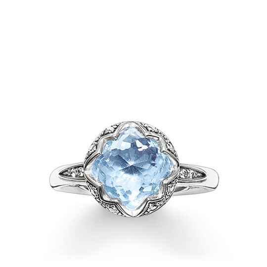 solitaire ring light blue Lotos from the Glam & Soul collection in the THOMAS SABO online store