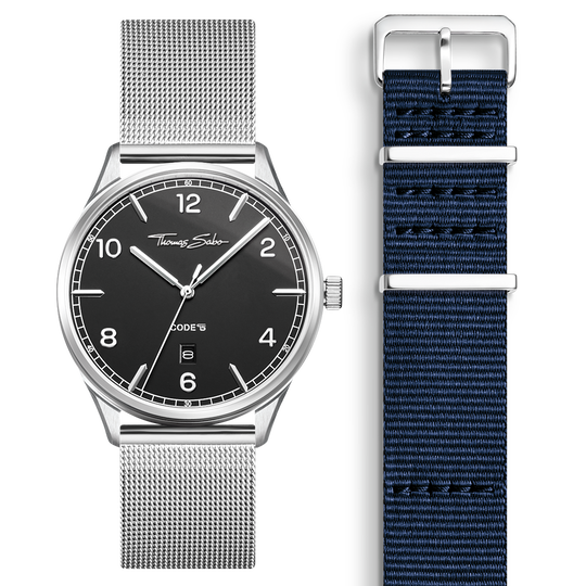 SET CODE TS black watch & dark blue strap from the  collection in the THOMAS SABO online store