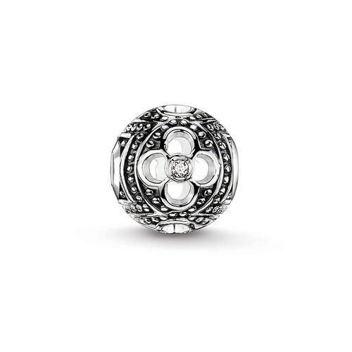 """Bead """"black icy diamond flower"""" from the Karma Beads collection in the THOMAS SABO online store"""