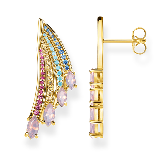 earrings bright gold-coloured hummingbird wing from the Glam & Soul collection in the THOMAS SABO online store