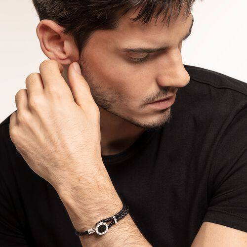 "leather strap ""disc black"" from the Rebel at heart collection in the THOMAS SABO online store"