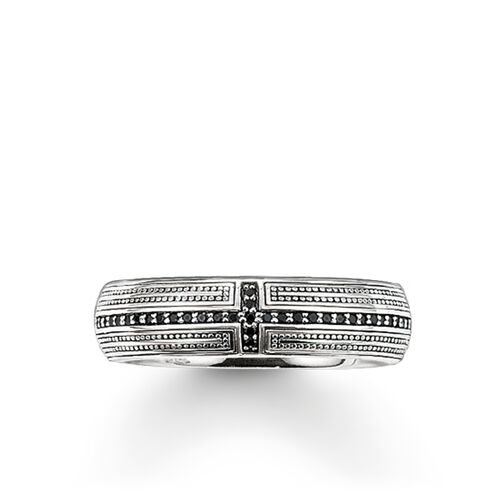 """band ring """"cross pavé"""" from the Rebel at heart collection in the THOMAS SABO online store"""